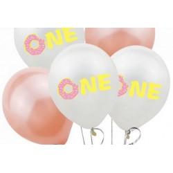 Pak met 5 ballonnen One met een donut roze
