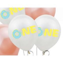 Pak met 5 ballonnen One met een donut blauw
