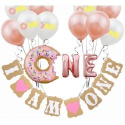 Donut decoratie set eerste verjaardag meisje 14-delig