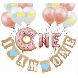 Donut decoratie set eerste verjaardag jongen 14-delig