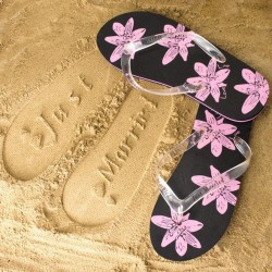 Honeymoon slippers zwart/roze maat L