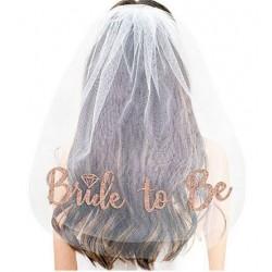 Bride to Be sluier wit met rosé goud opdruk