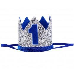 Aandoenlijk glitter hoedje zilver met blauw voor de eerste verjaardag van een jongen
