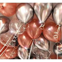 Ballonmix van 5 chrome, 5 rosé gouden en 5 confetti ballonnen
