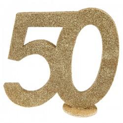 Goud glitter taart topper of tafel decoratie 50