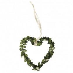 Pak met 4 buxus hartjes groen aan ivoorkleurig lint