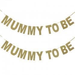 Banner Mummy to be gemaakt van goud glitter karton