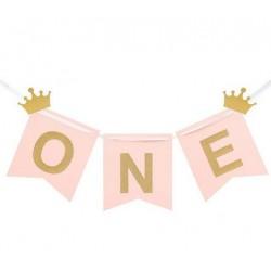 Banner One roze met twee gouden kroontjes en het woord One