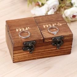 Houten duo ringenbox Mr en Mrs met 2 aparte deksels voor de ring van de bruid en de bruidegom