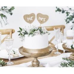Bruidstaart topper in de vorm van 2 jute hartjes op houten steker Mr & Mrs