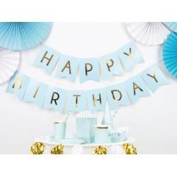 Banner blauw met gouden folie letters Happy Birthday