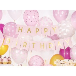 Banner met goud folie letters Happy Birthday op roze ondergrond