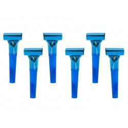 Pak met 6 party whistles blauw