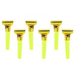 Pak met 6 party whistles goud