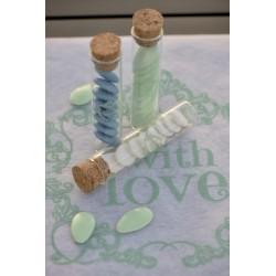 Pak met 4 glazen buisjes met kurk dop Vintage mint green