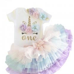 Driedelig 1e verjaardag setje Unicorn wit met trendy pastelkleuren met tutu en haarband