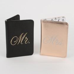 Luxe paspoorthouders Mr & Mrs zwart en rosé goud