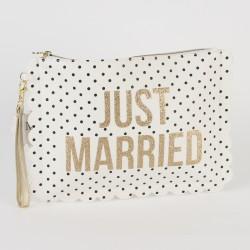 Pols tasje geschikt voor meerdere doeleinden Just Married wit met goud