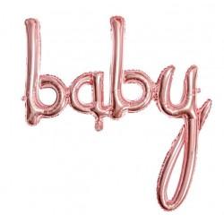 Baby folie ballon in de kleur rosé goud