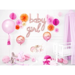 Folie ballon set Baby en Girl in de kleur rosé goud