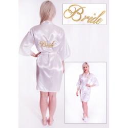 Prachtige witte kimono met in goud geborduurd de tekst Bride er op