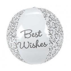 Opblaasbare bal Two Hearts One Love met de tekst Best Wishes en hartjes