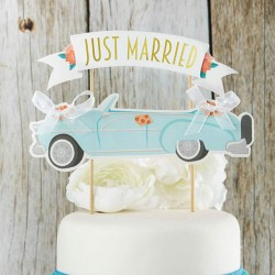 Bruidstaart topper Just Married Wedding Car