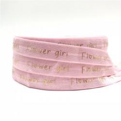 Elastische armband licht roze met gouden opdruk Flowergirl