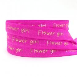 Elastische armband hot pink met gouden opdruk Flowergirl