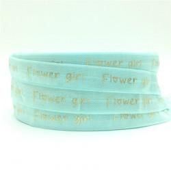 Elastische armband licht blauw met gouden opdruk Flowergirl