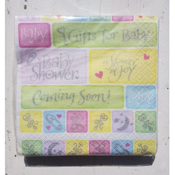 Babyshower servetten Coming Soon pastel