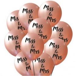 Ballonnen voor het vrijgezellenfeest rosé goud met in zwart de tekst Miss to Mrs