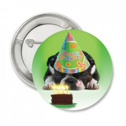 Button 'Bulldog' happy birthday