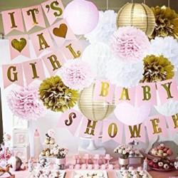 Banners It's a Girl en Babyshower roze met goud