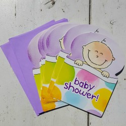 Babyshower Invitation Cards Happy Baby pastel