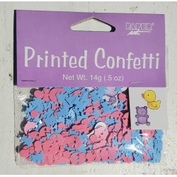 Babyshower confetti Boy or Girl met roze en blauwe rammelaars