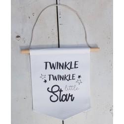 Decoratieve muur canvas aan houten stok met touw Twinkle Twinkle Little Star