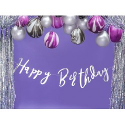 Banner Happy Birthday met zilver folie letters