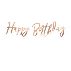 Banner Happy Birthday met rosé gouden folie letters