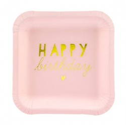 Bordjes Happy Birthday licht roze met goud folie letters