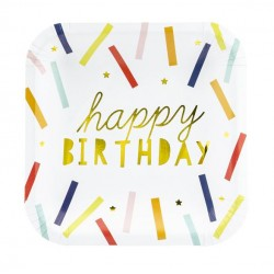 Bordjes Happy Birthday multi coloured met goud folie letters