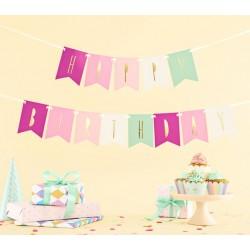 Banner met gouden letters Happy Birthday op roze en mixed colours