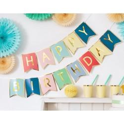 Banner met gouden letters Happy Birthday en gouden rand op mixed colours aan wit lint