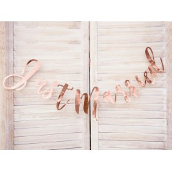 Banner Just Married glanzend metallic rosé goud