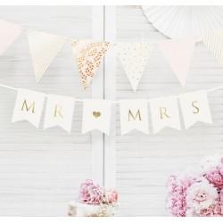 Banner Mr & Mrs wit met goud