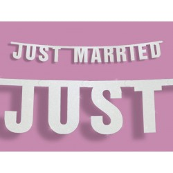 Banner Just Married met grote wit of zilver glitter letters