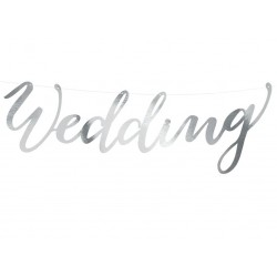 Banner Wedding glanzend metallic zilver