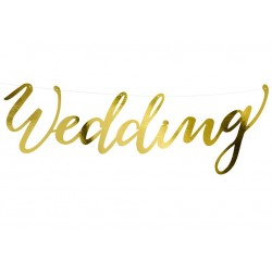 Banner Wedding glanzend metallic goud