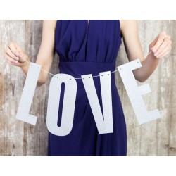Banner Love met grote zilveren glitter letters en 2 meter wit touw