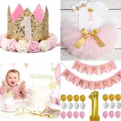 Complete decoratie en kleding set voor de 1e verjaardag van een meisje